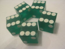 Green Casino Dice 19mm sand finish with feather edge