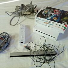 Nintendo Wii Console White Good Condition with 4 Games Fast Dispatch Inc Mario