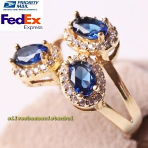 Turkish 925 Sterling Silver Kind Oval Blue Sapphire Stone Ladies Ring All Size