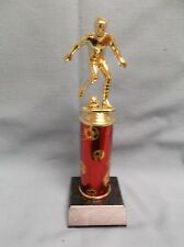 Soccer trophy male red theme column on black finish wood base