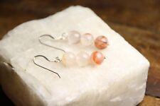 Sunstone Natural Gemstone Faceted 8mm Ball Earrings 925 Sterling Silver Hooks