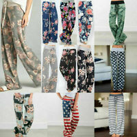 Fashion Women Floral Yoga Lounge Sport Wide Leg Casual Loose Long Pants Trousers