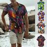 Mens Color Block Geometric Boho Print Turn Down Collar Short Sleeve Loose Shirts