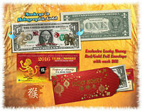Lot of 25 Chinese Lunar New Year 24KT GOLD Lucky Money 2016 YEAR MONKEY $1 BILLS
