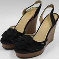 XOXO Womens Ladies Black Sling Back Wooden Wedge Sandals Heels Shoes Size 6.5M