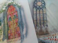 2 Vtg 1950s GLITTER Sparkle CHURCH WINDOWS Mid Century CHRISTMAS GREETING CARDS