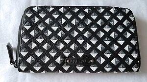 Vera Bradley Accordion Wallet BLACK WHITE Geometric Card Holder PVC NWT