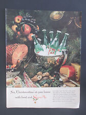 1961 7UP Christmas Feast Original  Vintage Print Ad