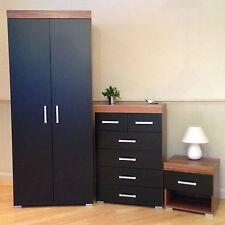 3 Piece Black & Walnut Bedroom Set! Wardrobe, 4+2 Drawer Chest, Bedside Table! 6