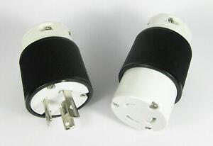 Woodhead Turnex  MALE FEMALE 30A 250V Twist Lock Plug pair L6-30P L6-30R
