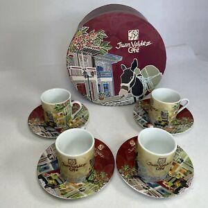 Juan Valdez Cafe Demitasse Espresso Coffee Cup Set of 4 Cups & Saucers BOXED
