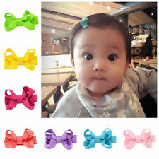 10Pcs Baby Girl Kids Bowknot Hair Bow Alligator Clips Grosgrain Ribbon Barrettes