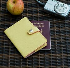 YELLOW CORN LEATHER PASSPORT HOLDER COVER CASE BAG WALLET TICKET GIFT WOMEN MEN