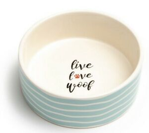 """Dog Bowl Park Life Designs Live Love Woof Ceramic 4 Cup 6.25"""" Turquoise & White"""