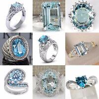 Fashion Women Aquamarine Wedding Engagement 925 Silver Jewelry Ring Size 5-12