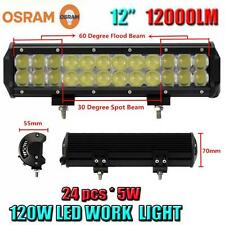 12Inch 12000LM 120W OSRAM 24x 5W LED Combo Beam Bar Offroad Car LED Work Light