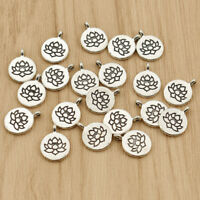 20pcs Lucky Lotus Round Pendants Silver Charms for DIY Necklace Bracelet Making