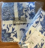 Pottery Barn Set 2 Marianna Euro Shams Blue Floral Pair New