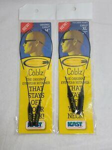 "2x Cablz Sunglasses Glasses Holder Adjustable Retainer 14"" Black Universal New"