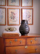RARE ANTIQUE CHINESE ARCHASITIC BRONZE LION-HANDLED HU VASE, SONG - MING DYNASTY