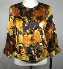 NWT Pendleton S/P Womans Gold Black Silk Button Down Top