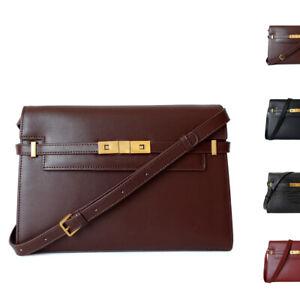 Real Leather Flap Push-Tabs Belt Shoulder Purse Briefcase Work Bag Baguette Tote