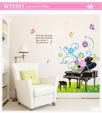 Wandtattoo Deko Wald Sticker Wandsticker Wandaufkleber  Piano Blumen #9501