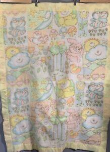 Vintage Soft Acrylic Baby Crib Blanket Nylon Trim Pale Yellow Woodlands Pastels