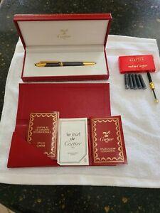 Rare Must De Cartier Cougar Parris  Gold & Titanium Fountain Pen - 18kt - 1992