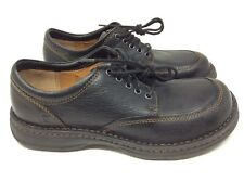 Born Leather Moc Toe Loafers Mens 9M Boat Shoes Lace Up Black H61803