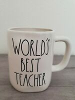 NEW RAE DUNN by Magenta WORLD'S BEST TEACHER Coffee Tea Mug Farmhouse Home Decor