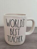 NEW RAE DUNN by Magenta WORLD'S BEST TEACHER Coffee Tea Mug Farmhouse Home Decor