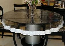 Clear Transparent Round Tablecloth Waterproof 4 Seater Lace Border Table Cover