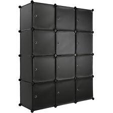 Steckregal mit Türen Schrank Regal Kunststoff Kleiderschrank Schuhregal schwarz