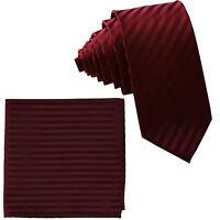 "New Men's Poly Woven 2.5"" slim necktie & hankie set tone on tone stripe Burgundy"