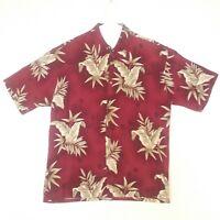 Campia Moda Mens Maroon Floral Hawaiian Shirt Large Rayon Short Sleeve Button Up