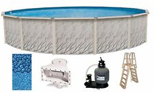 """24' x 52"""" Round Above Ground Meadows Swimming Pool w/ Liner, Ladder & Filter Kit"""