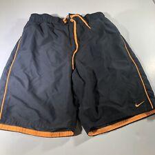 NIKE Swim Trunks Men's Size Small Gray Orange With Pockets