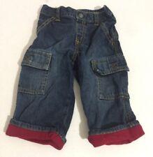 Gymboree Boys Jeans 6-12 Months Cargo Red Fleece Cuff