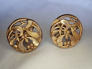 c1900 Lovely ANTIQUE Art Nouveau French GOLD Cufflinks AUGUSTE SAVARD Mistletoe