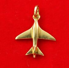 NEW 9ct Yellow Gold Airplane Pendant 9K Charm 375 Solid Plane Aircraft Travel