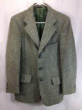 Harris Tweed Blazer Jacket Suit Coat Mens Green Herringbone Scottish Wool USA