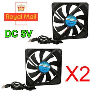 2x USB PC Cooling Fan 120mm Computer Case Cooler Fan CPU Heat Sink Silent Cooler