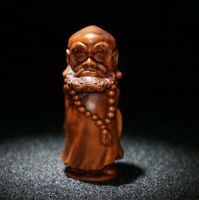 Collect Old Boxwood Japanese Netsuke carved Bodhidharma buddha Statue figurines