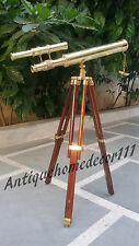 Maritime nautical solid brass double barrel 18 inch telescope with wooden stand