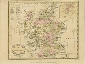 MAP SCOTLAND 1820 superb 200 years old handcoloured map 20cm x 25,5cm C.Brightly