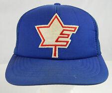 Vintage Blue Canada Letter E Maple Leaf Hockey Team Snap Back Hat Adult Size