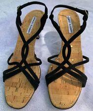 MANOLO BLAHNIK Black Suede Ankle Wrap Strappy Heels Cork Sole Size 39  New