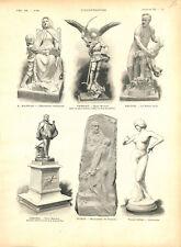 Sculptures Barrias,Frémiet,Déloye,Gérome,Puech,Falguière sculpteurs GRAVURE 1896