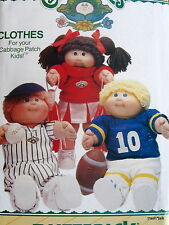 Cabbage Patch Doll Clothes Pattern Sports Cheerleader Football Baseball B6827